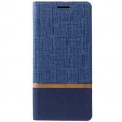"""""""Cross"""" Texture Leather atverčiamas dėklas - mėlynas (Galaxy A9 2018)"""