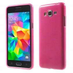 Kieto silikono (TPU) dėklas - skaidrus, rožinis (Galaxy Grand Prime)