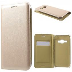 """""""Smart Wallet"""" atverčiamas dėklas - auksinis (Galaxy J1 2016)"""