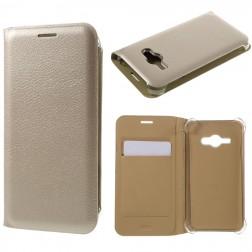 """""""Smart Wallet"""" atverčiamas dėklas - auksinis (Galaxy J1 Ace)"""