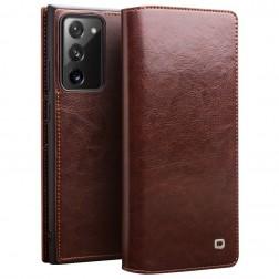 """""""QIALINO"""" atverčiamas dėklas - rudas (Galaxy Note 20)"""