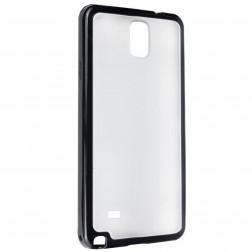 Plastikinis dėklas su kieto silikono rėmu - skaidrus / juodas (Galaxy Note 4)