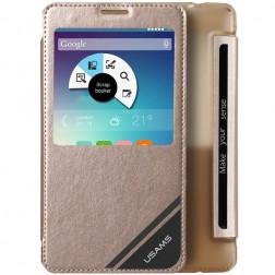 """""""Usams"""" Viva atverčiamas dėklas su langeliu - auksinis (Galaxy Note 4)"""
