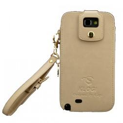 """""""Klogi"""" prabangus odinis dėklas - smėlio spalvos (Galaxy Note 2)"""