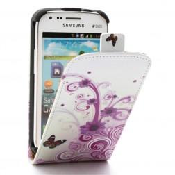 Vertikaliai atverčiamas gėlėtas dėklas - baltas (Galaxy S Duos / S Duos 2 / Trend / Trend Plus)