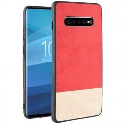 """""""Bi-Color"""" Splicing dėklas - smėlio spalvos / raudonas (Galaxy S10+)"""
