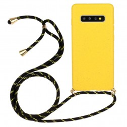 """""""Strap"""" kieto silikono (TPU) dėklas - geltonas (Galaxy S10)"""