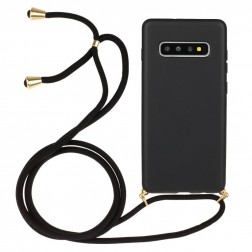 """""""Strap"""" kieto silikono (TPU) dėklas - juodas (Galaxy S10)"""
