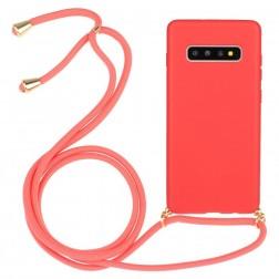 """""""Strap"""" kieto silikono (TPU) dėklas - rožinis (Galaxy S10)"""