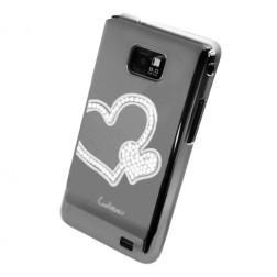 """""""Leshine"""" dėklas - Širdelės - sidabrinis (Galaxy S2)"""