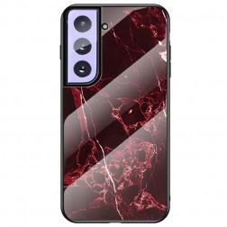 """""""Marble"""" kieto silikono (TPU) dėklas - juodas / raudonas (Galaxy S21+)"""