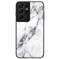 """""""Marble"""" kieto silikono (TPU) dėklas - baltas (Galaxy S21 Ultra)"""