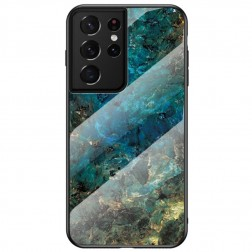 """""""Marble"""" kieto silikono (TPU) dėklas - mėlynas (Galaxy S21 Ultra)"""
