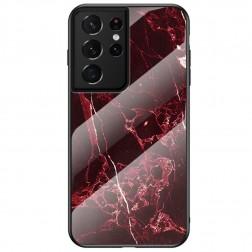 """""""Marble"""" kieto silikono (TPU) dėklas - juodas / raudonas (Galaxy S21 Ultra)"""