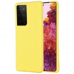 """""""Shell"""" kieto silikono (TPU) dėklas - geltonas (Galaxy S21 Ultra)"""