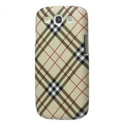 """""""Burberry"""" stiliaus dėklas - šviesiai rudas (Galaxy S3)"""