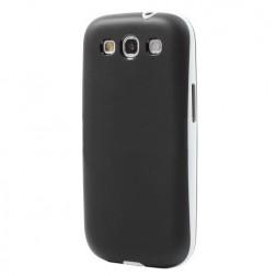 Kieto silikono (TPU) dėklas su plastikiniu rėmu - juodas (Galaxy S3)