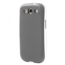 Kieto silikono (TPU) dėklas su plastikiniu rėmu - pilkas (Galaxy S3)
