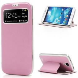 """Atverčiamas """"S-View"""" stiliaus dėklas - rožinis (Galaxy S4)"""