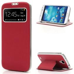 """Atverčiamas """"S-View"""" stiliaus dėklas - raudonas (Galaxy S4)"""