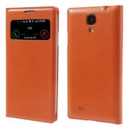 """""""Smart Window"""" atverčiamas odinis dėklas - oranžinis (Galaxy S4)"""