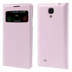 """""""Smart Window"""" atverčiamas odinis dėklas - šviesiai rožinis (Galaxy S4)"""