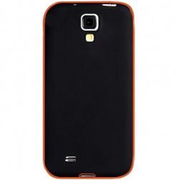 Plastikinis dėklas su kieto silikono rėmu - juodas / oranžinis (Galaxy S4)