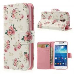 """Atverčiamas """"rožių"""" dėklas (piniginė) - baltas (Galaxy S4 mini)"""