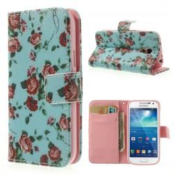 """Atverčiamas """"rožių"""" dėklas (piniginė) - mėtinis (Galaxy S4 mini)"""