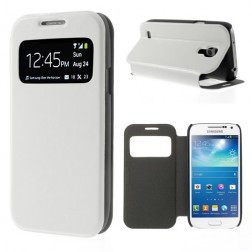 """""""Crazy Horse"""" atverčiamas """"S-View"""" stiliaus dėklas - baltas (Galaxy S4 mini)"""