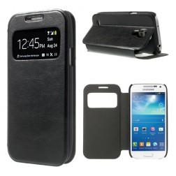 """""""Crazy Horse"""" atverčiamas """"S-View"""" stiliaus dėklas - juodas (Galaxy S4 mini)"""