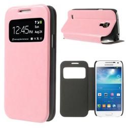"""""""Crazy Horse"""" atverčiamas """"S-View"""" stiliaus dėklas - rožinis (Galaxy S4 mini)"""
