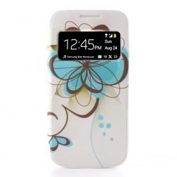 """Atverčiamas gėlėtas """"S-View"""" stiliaus dangtelis (Galaxy S4 mini)"""