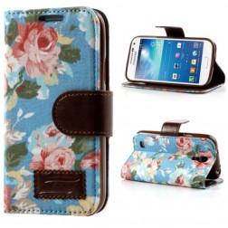 """Atverčiamas """"rožių"""" dėklas - mėlynas (Galaxy S4 mini)"""