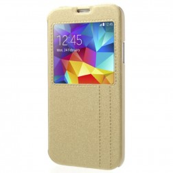Atverčiamas dėklas su langeliu - auksinis (Galaxy S5 / S5 Neo)