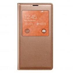 """""""Smart Window"""" atverčiamas odinis dėklas - bronzinis (Galaxy S5 / S5 Neo)"""