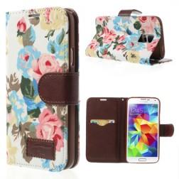"""Atverčiamas """"rožių"""" dėklas - baltas (Galaxy S5 / S5 Neo)"""