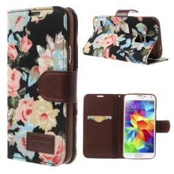 """Atverčiamas """"rožių"""" dėklas - juodas (Galaxy S5 / S5 Neo)"""