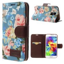 """Atverčiamas """"rožių"""" dėklas - mėlynas (Galaxy S5 / S5 Neo)"""