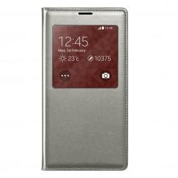 """""""Smart Window"""" atverčiamas odinis dėklas - sidabrinis (Galaxy S5 / S5 Neo)"""