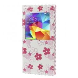 """""""Flowers"""" atverčiamas dėklas - baltas (Galaxy S5 / S5 Neo)"""