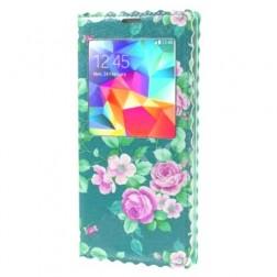 """""""Flowers"""" atverčiamas dėklas - mėtinis (Galaxy S5 / S5 Neo)"""