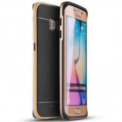 """""""IPAKY"""" kieto silikono (TPU) dėklas - juodas / auksinis (Galaxy S6 Edge)"""