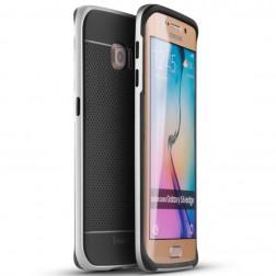 """""""IPAKY"""" kieto silikono (TPU) dėklas - juodas / sidabrinis (Galaxy S6 Edge)"""