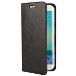 """""""Faux Leather"""" atverčiamas dėklas - juodas (Galaxy S6 Edge)"""