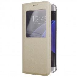 Atverčiamas dėklas su langeliu - auksinis (Galaxy S6 Edge+)