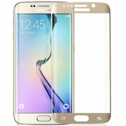 """""""Amorus"""" Tempered Glass apsauginis ekrano stiklas 0.33 mm - auksinis (Galaxy S6 Edge+)"""