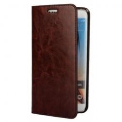 """""""Faux Leather"""" atverčiamas dėklas - tamsiai rudas (Galaxy S6 Edge+)"""
