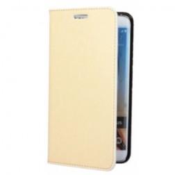 """""""Faux Leather"""" atverčiamas dėklas - smėlio spalvos (Galaxy S6 Edge+)"""