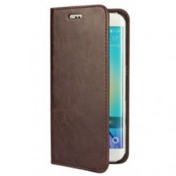 """""""Faux Leather"""" atverčiamas dėklas - tamsiai rudas (Galaxy S6 Edge)"""